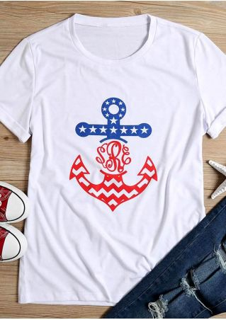 Anchor Star Printed Short Sleeve T-Shirt