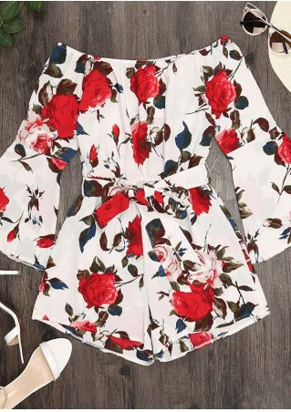 Floral Off Shoulder Romper with Belt