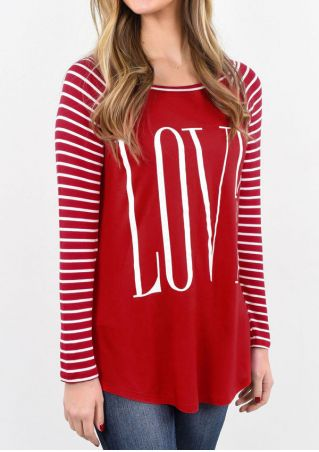 Love Striped Splicing Baseball T-Shirt without Necklace