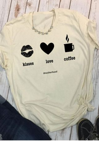 Kisses Love Coffee O-Neck T-Shirt