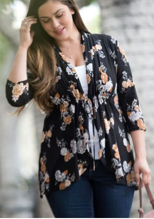Plus Size Floral Cardigan without Necklace
