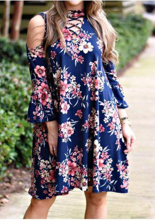 Floral Criss-Cross Cold Shoulder Casual Dress