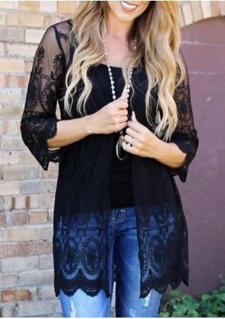 Solid Lace Three Quarter Sleeve Cardigan without Necklace