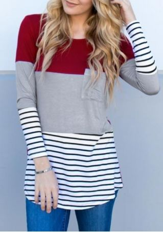 Striped Splicing Pocket Long Sleeve T-Shirt