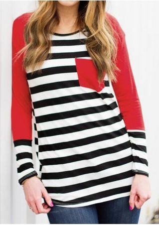 Striped Splicing Pocket O-Neck Baseball T-Shirt