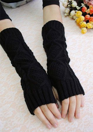 Solid Knitted Fingerless Warm Gloves