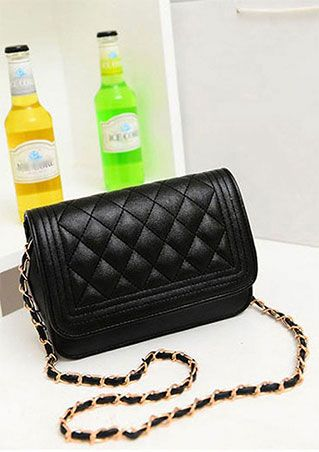 Solid PU Chain Shoulder Bag