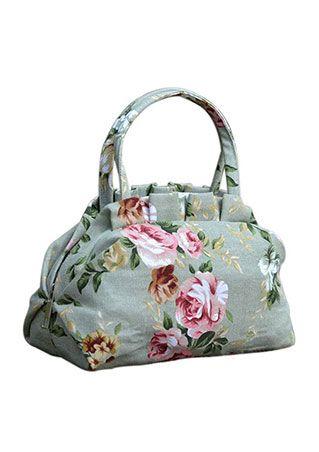 Floral Zipper Canvas Handbag