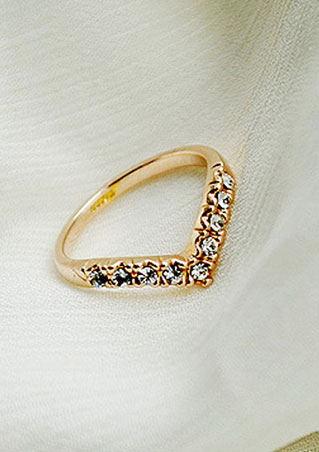 V Shaped Rhinestone Crystal Ring
