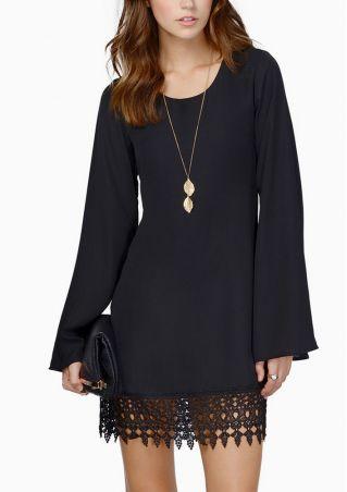 Chiffon Long Sleeve Lace Mini Dress