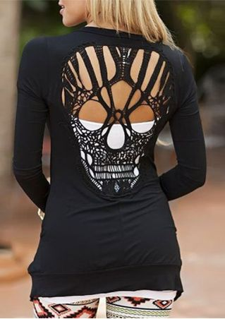 Long Sleeve Hollow Out Skull Pattern T-Shirt