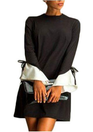 Long Sleeve Crewneck Splicing Mini Dress Without Bag