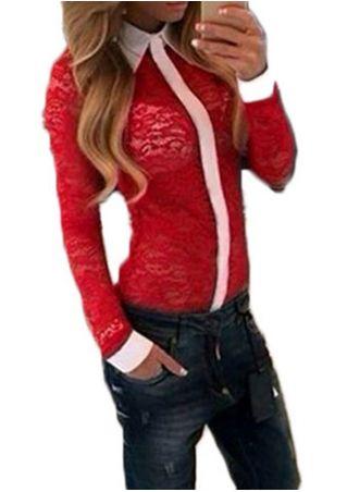 Lace Turndown Collar Long Sleeve Shirt