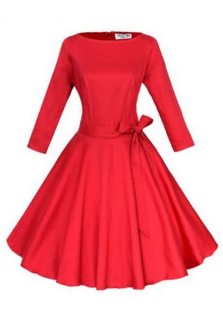 A-Line Crewneck Pleated Dress With Belt