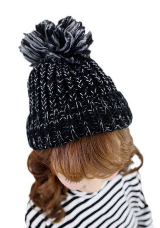 Kintted Fuzzy Ball Hat
