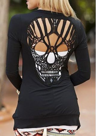 Solid Skull Backless Casual T-Shirt
