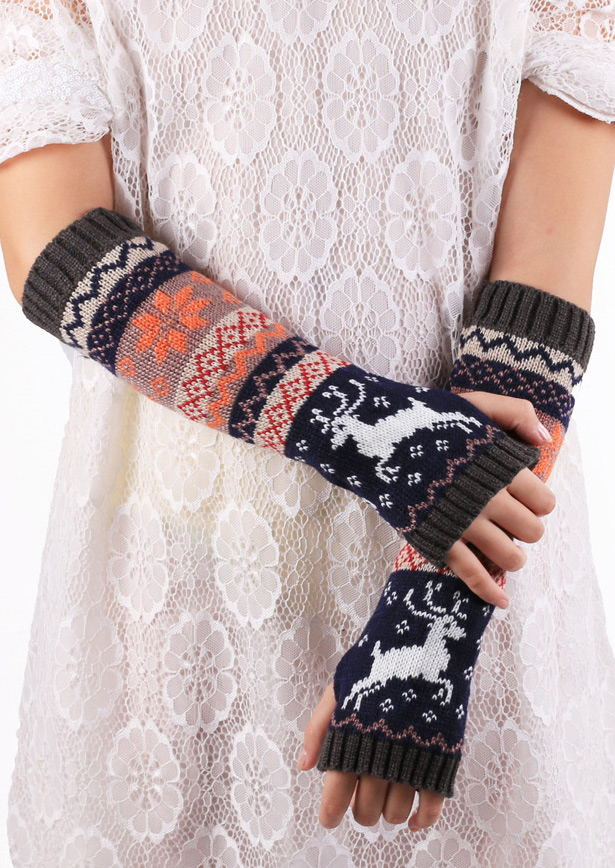 Image of Color Block Knitted Fingerless Gloves