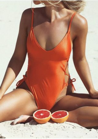 Solid Lace Up Backless Swimsuit
