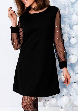 Solid Beading Mesh Splicing Mini Dress