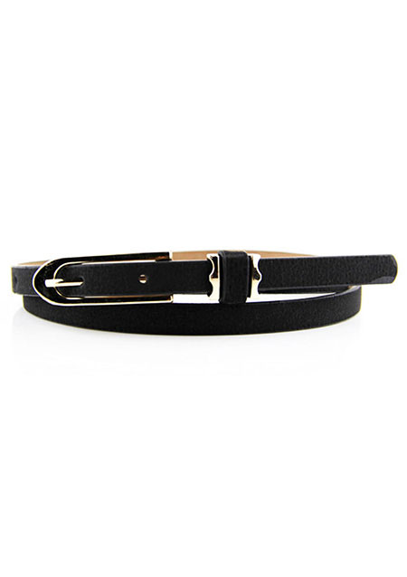 Image of Solid Leather Buckle Waist Belt