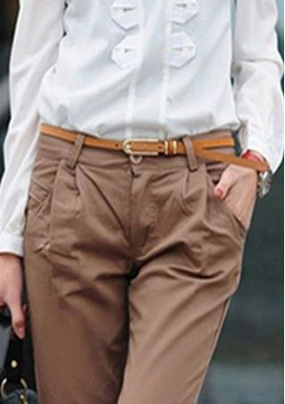 Solid Leather Buckle Waist Belt