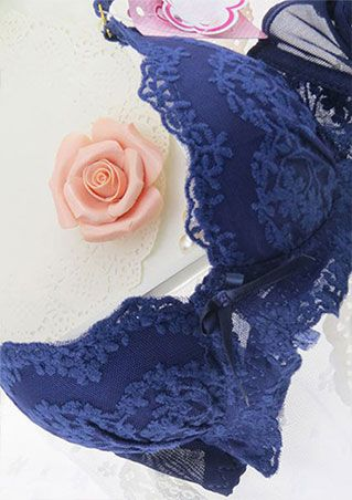 Solid Lace Floral Bra Set