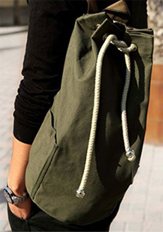 Drawstring Zipper Canvas Backpack