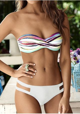 Splicing Strapless Beach Bikini Set