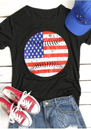 American Flag Baseball O-Neck T-Shirt