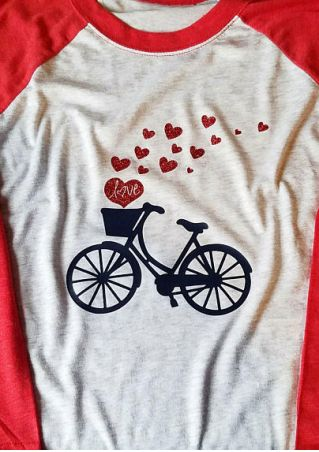Love Bicycle Heart Baseball T-Shirt