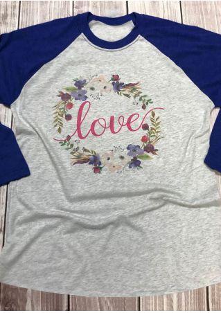 Floral Love O-Neck Baseball T-Shirt