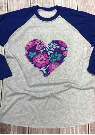 Floral Heart O-Neck Baseball T-Shirt