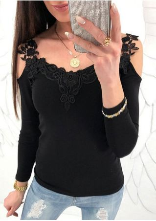 Solid Lace Floral Cold Shoulder Blouse without Necklace