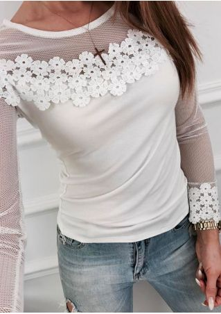 Solid Lace Floral Mesh Splicing Blouse without Necklace