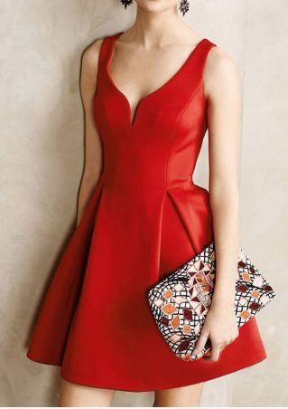 Solid Sleeveless V-Neck Mini Dress