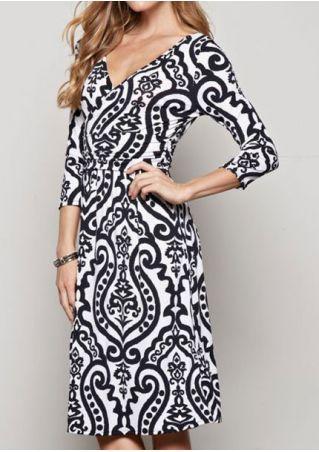 Printed Wrap V-Neck Casual Dress