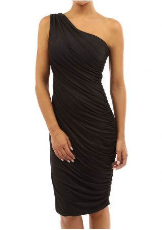 Solid Ruched One-Shoulder Bodycon Dress