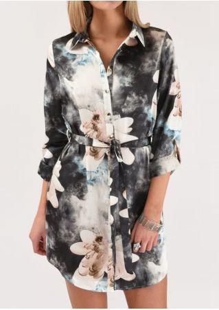 Floral Tie Dye Shirt Dress