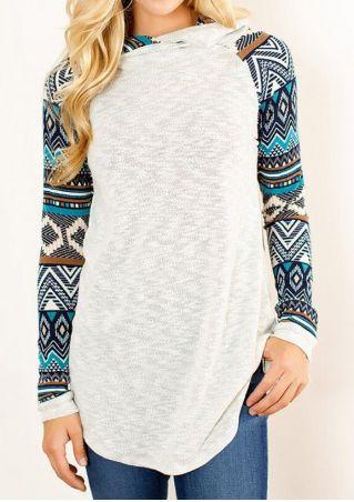 Geometric Printed Knitted Splicing Hoodie