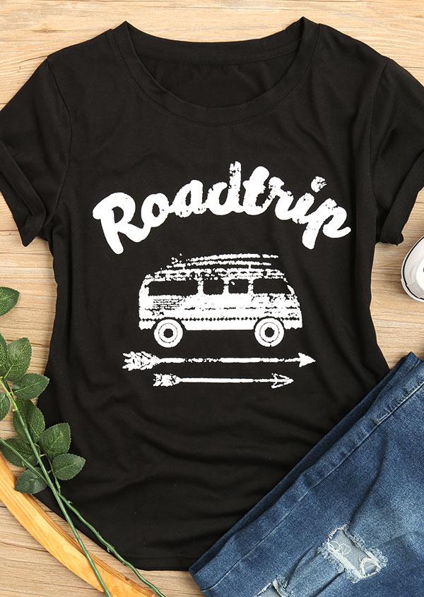 Road Trip Arrow O-Neck T-Shirt Tee - Black фото