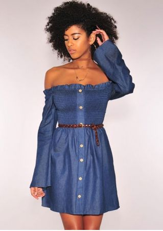Solid Ruffled Button Mini Dress without Necklace