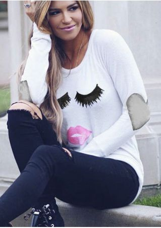 Lip Heart Elbow Patch Printed T-Shirt without Necklace