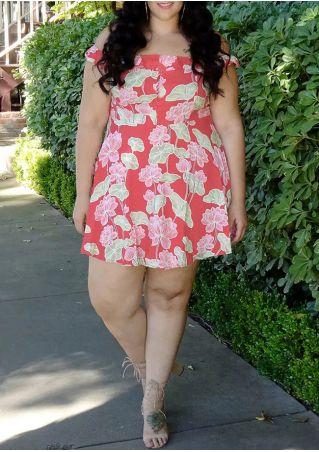 Plus Size Floral Off Shoulder Mini Dress
