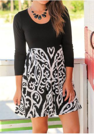 Printed Splicing Mini Dress without Necklace