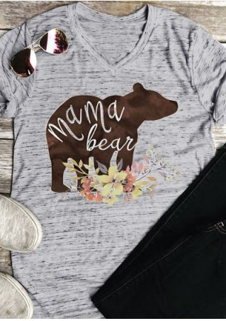 Floral Mama Bear V-Neck T-Shirt