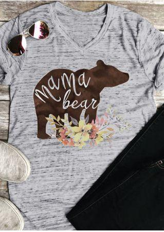 Floral Mama Bear V-Neck T-Shirt