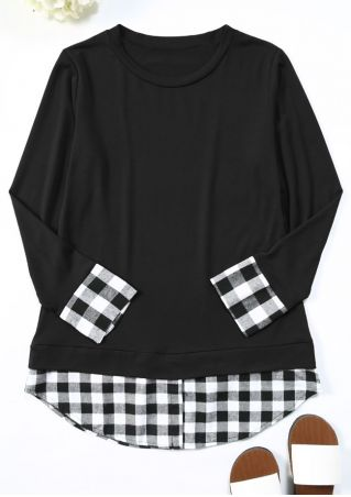 Plaid Splicing Long Sleeve Blouse