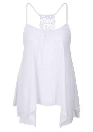 Solid Lace Floral Asymmetric Camisole