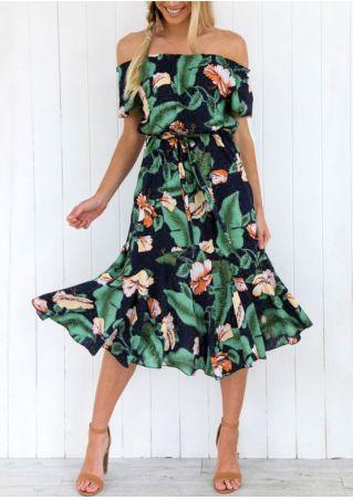 Floral Off Shoulder Casual Dress