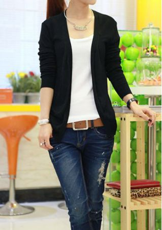 Solid Cardigan without Necklace